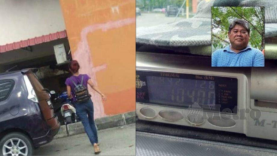 Penumpang wanita (kiri) yang tidak membayar tambang sebanyak RM104 kepada Hamdan (gambar kecil). FOTO Ihsan Hani Hamdan