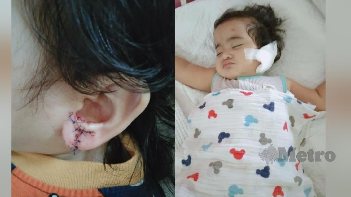 KECEDERAAN dialami Delisha (kiri) dan Delisha ketika berada dirawat di hospital. FOTO ihsan pembaca