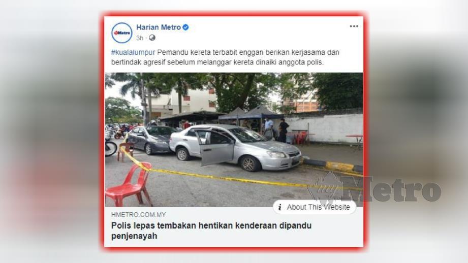LAPORAN portal berita Harian Metro, hari ini.