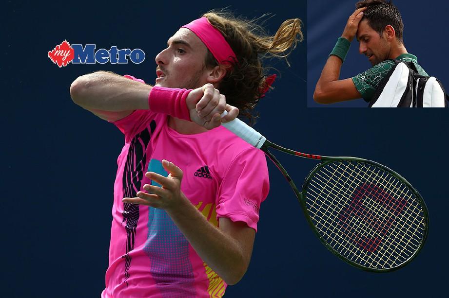 TSITSIPAS (kiri) mengalahkan juara empat kali Djokovic pada pertemuan pertama antara kedua-dua pemain berkenaan. FOTO/AFP