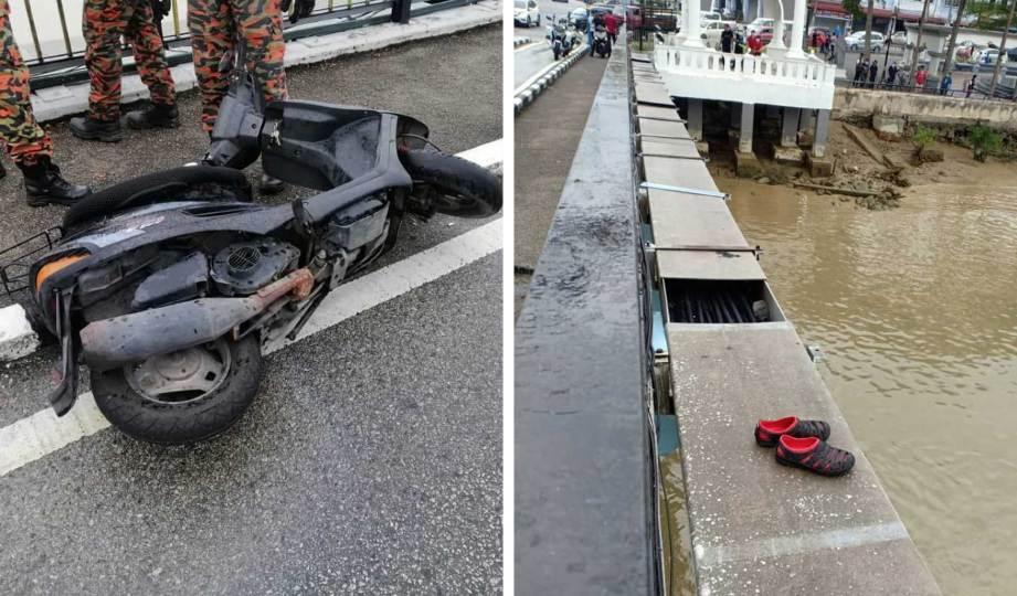 MOTOSIKAL dan selipar milik mangsa ditinggalkan di laluan motosikal sebelum mangsa bertindak terjun dari Jambatan Sultan Ismail 1, Muar. FOTO Ihsan bomba