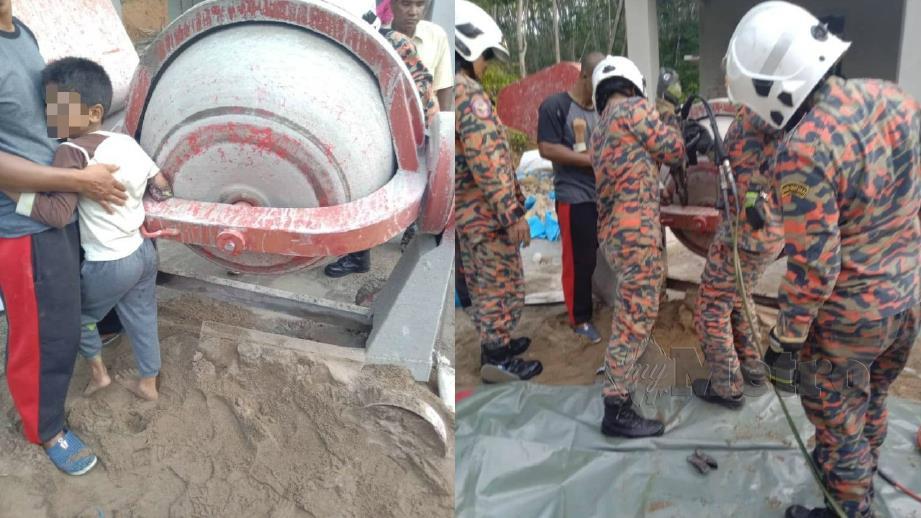 ANGGOTA bomba membantu mengeluarkan tangan kanak-kanak yang tersepit pada mesin pembancuh simen. FOTO Ihsan Bomba
