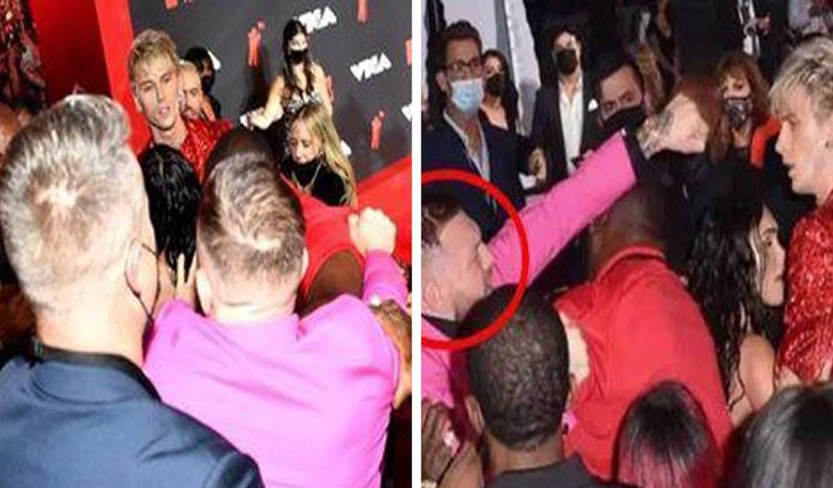 SITUASI insiden membabitkat McGregor (baju ungu) 'berang' dengan Kelly (baju merah).