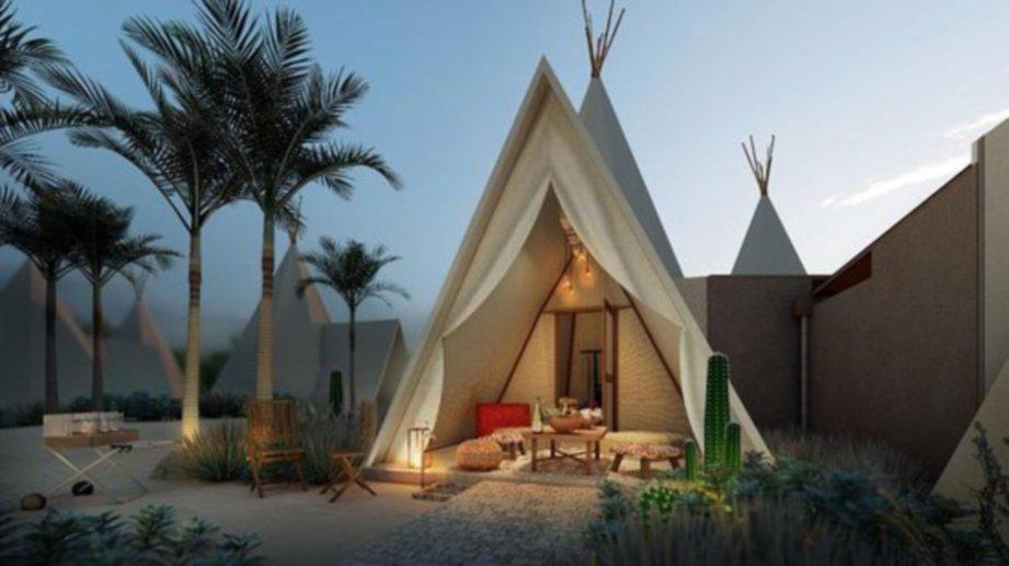 KONSEP resort seakan-akan 'glamping' memberi suasana lebih santai. FOTO Ihsan Treasure Bay Bintan