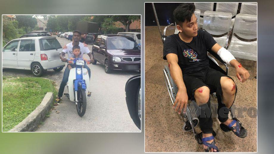 (Gambar kiri) Thiban. (Gambar kanan) Mohamad Asyraf yang cedera di tangan dan lutut akibat kemalangan. FOTO ihsan Mohamad Taufik Zainuddin