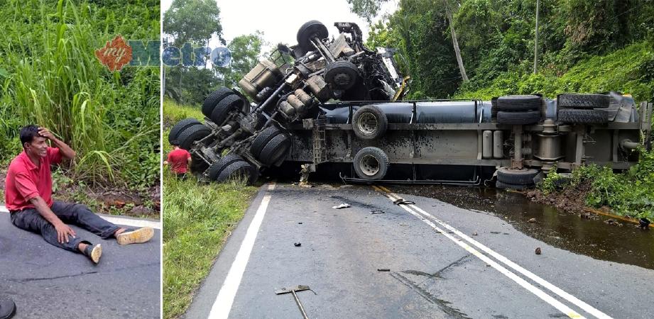 Pemandu lori tangki minyak sawit yang terselamat dan keadaan lorinya yang terbalik merintangi jalan Sandakan ke Telupid berhampiran Simpang Beluran, Sandakan. - Foto HAZSYAH ABDUL RAHMAN