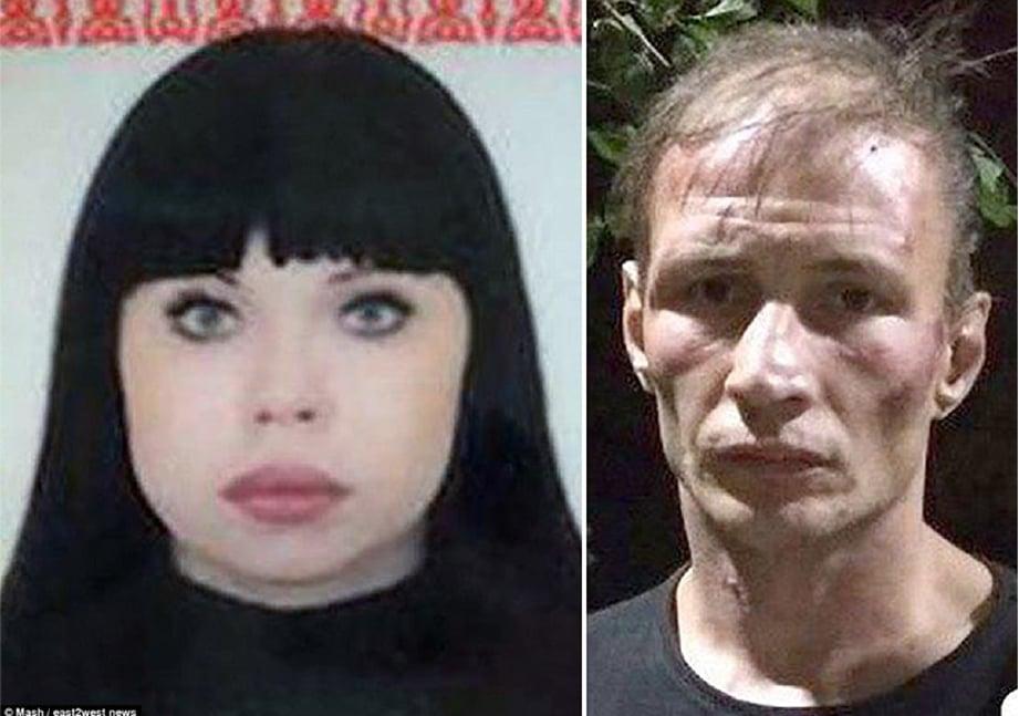 Dmitry Bakshaev, 35, (kanan) yang mengaku membunuh dan memakan 30 orang sejak 1999. Kiri, gambar wanita yang disiarkan media Russia dipercayai mangsa terbaru Dimitry dan isterinya. - Foto Daily Mail