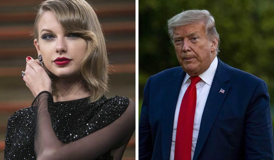 SWIFT (kiri) kurang senang dengan status yang ditulis Trump di Twitter. FOTO AFP