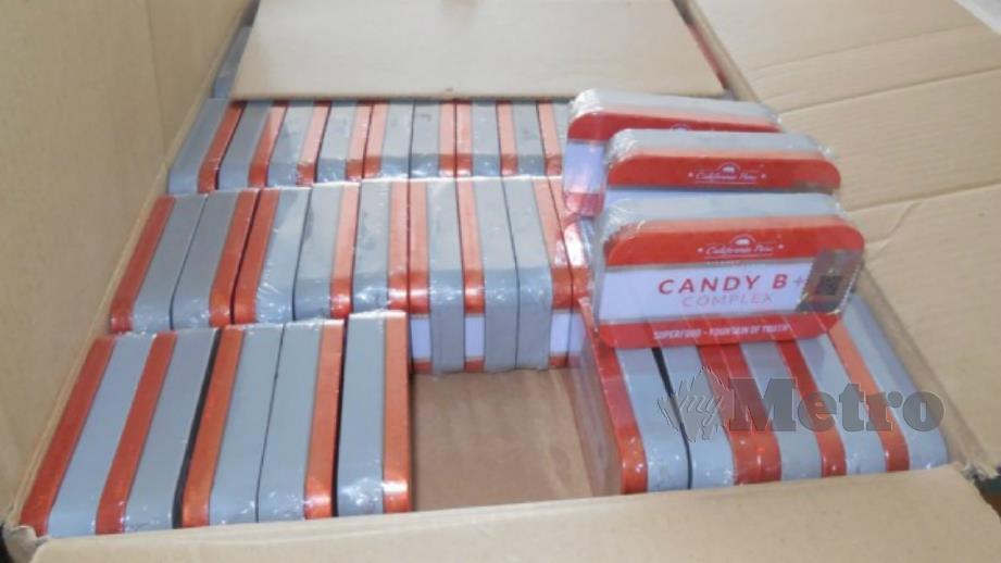 Gula-gula perangsang seks haram jenama 'Candy B+ Complex' yang dirampas Kementerian Kesihatan.