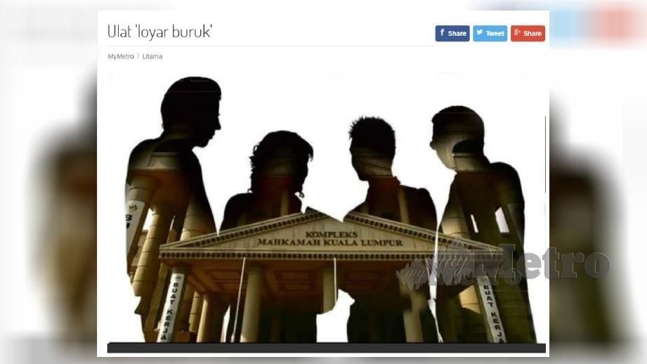LAPORAN portal berita Harian Metro