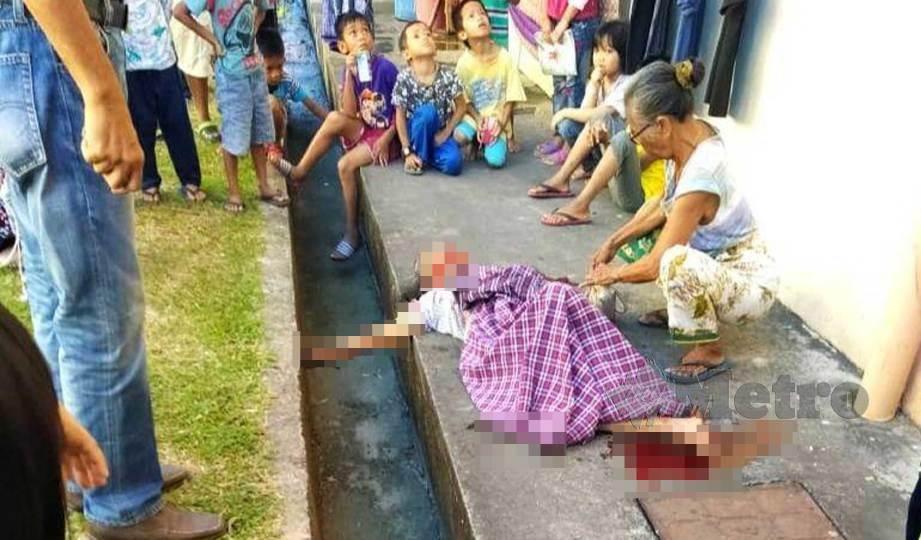 WANITA warga emas maut terjatuh dari tingkat tiga sebuah flat di Taman Telipok Ria, Tuaran. FOTO Recqueal Raimi