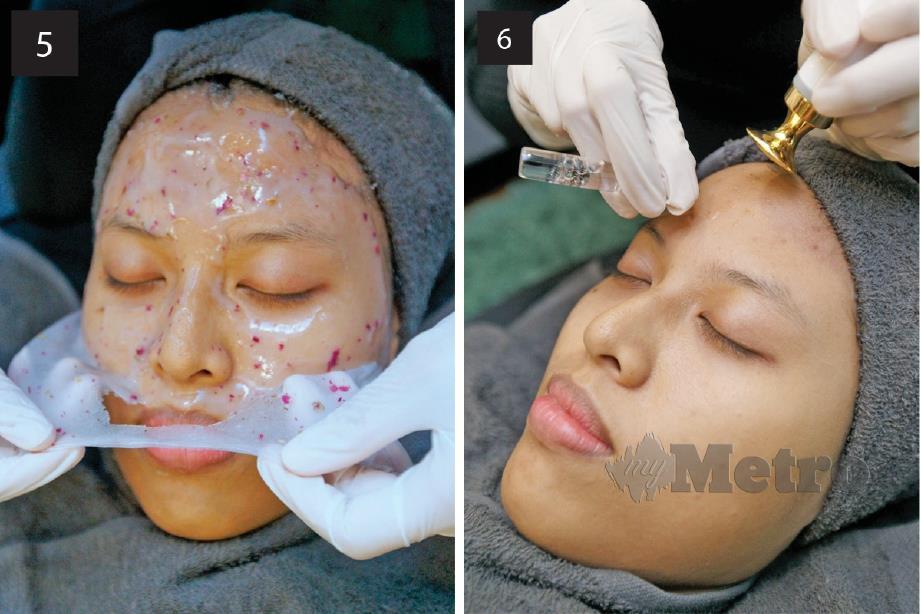 5. MASKER hidrogel dengan kesan penyejukan merawat kulit selepas dibersihkan. 6. PEMAKAIAN serum vitamin C menggunakan peralatan khusus.