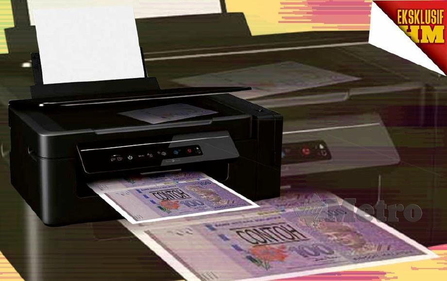 HANYA berbekalkan komputer riba, mesin pencetak, penyembur cat, berus warna, lampu pengimbas dan roller span untuk membuat duit palsu.