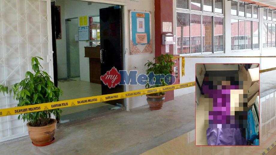 MAYAT mangsa (gambar kecil) ditemui dalam stor pejabat pentadbiran kolej kemahiran di Banting, hari ini. FOTO Faiz Anuar