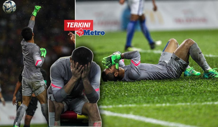Reaksi penjaga gol, Haziq Nadzli selepas bola ditumbuknya masuk ke gawang sendiri di Stadium Shah Alam, malam tadi. - Foto