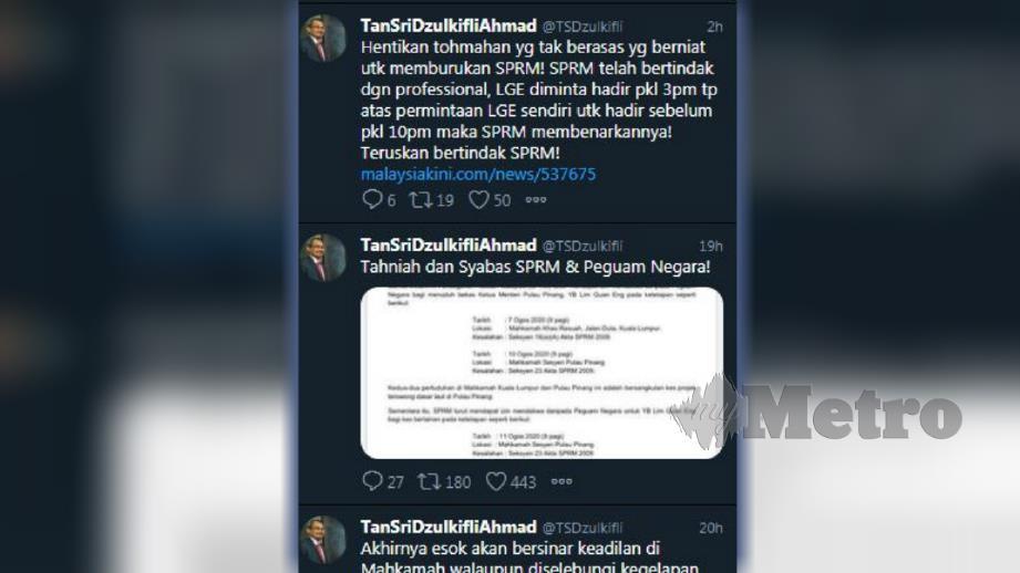 TANGKAP layar status yang dimuat naik Dzulkifli di akaun Twitter beliau.